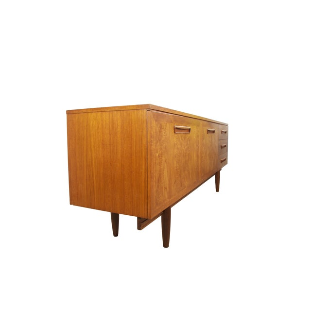 Mid 20th Century 1960s English Mid-Century Modern Flame Teak Credenza For Sale - Image 5 of 7