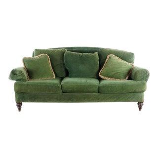 Ethan Allen Vintage Upholstered Green Velvet Three Cushion Sofa For Sale