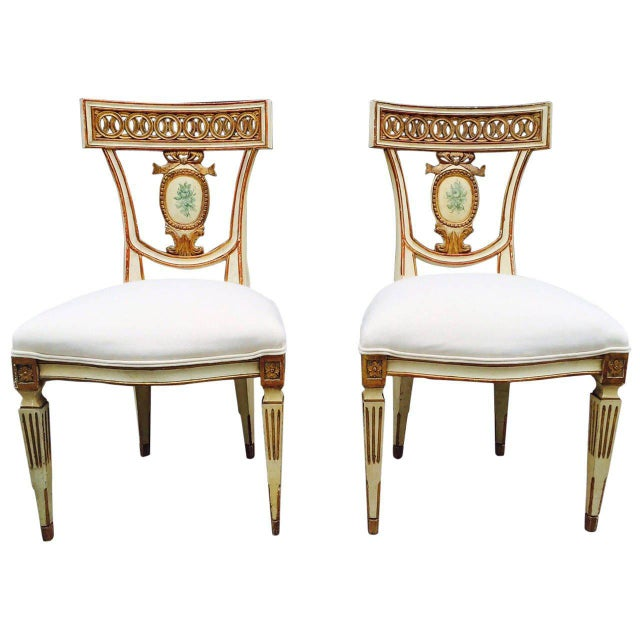 Neoclassical Pair of 19th Century Italian Neoclassical Side Chairs For Sale - Image 3 of 9