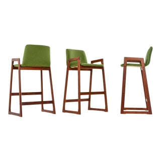 Danish Modern Teak Bar Stool Set – Fully Restored For Sale