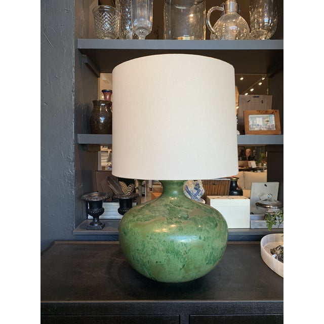 Mid-Century Modern - Green Hand Glazed Ceramic Lamp With Linen Shade For Sale - Image 10 of 10