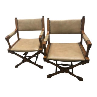 Mid Century Regency Directors Style Chairs - a Pair For Sale
