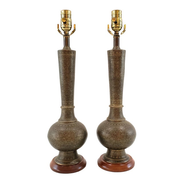 Mid-Century Arabesque Brass Lamps - a Pair For Sale - Image 13 of 13