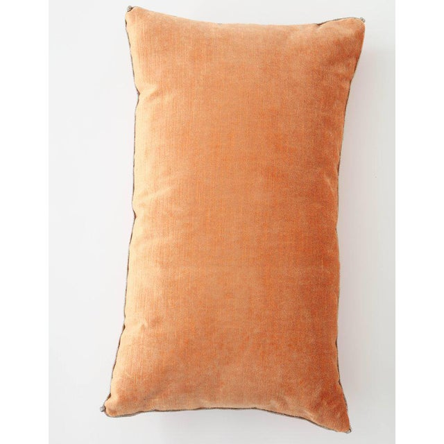 2010s Modern Velvet Pillow With Antique Metallic Accents For Sale - Image 5 of 6