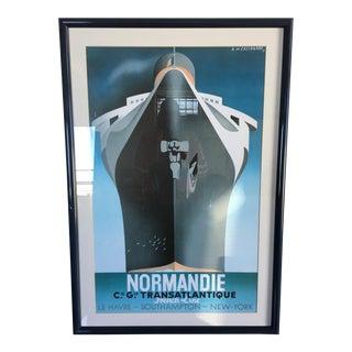 Vintage A.M. Cassandre-Normandie Transatlantique Art Deco Lithograph Framed Poster