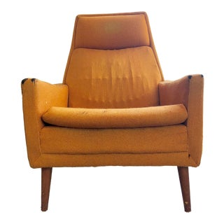 1960s Contemporary Folke Ohlsson Dux Orange Mohair High-Back Armchair