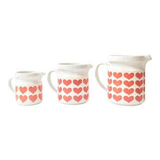 Set of 3 Large Waechtersbach West German Ceramic Pitchers With Modern Red Heart Pattern For Sale