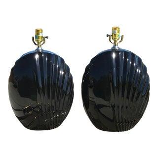 1980's Large Black Ceramic Lamps - a Pair For Sale
