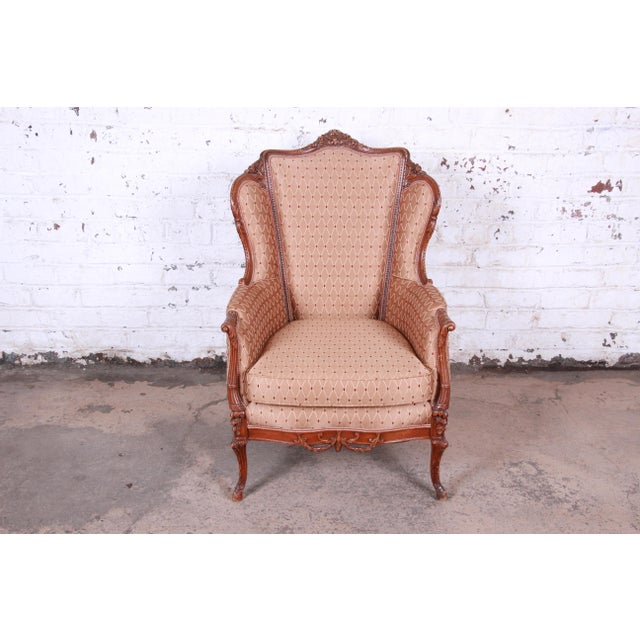 French Antique French Carved Wing Back Lounge Chair For Sale - Image 3 of 13