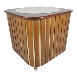 Mid-Century Danish Modern Teak End Table Brass Oak Wood Faux Marble For Sale
