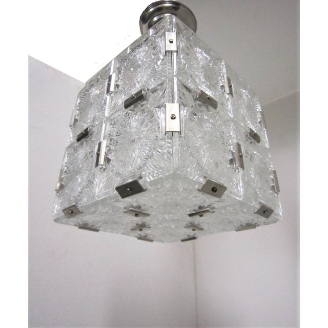 Metal Original Cut Glass With Nickeled Clips Box Cube Pendant Lights - Set of 3 For Sale - Image 7 of 12