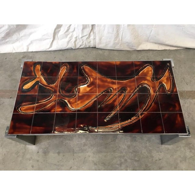 Wood Mid-Century Tile Top Coffee Table With Chrome Frame For Sale - Image 7 of 8