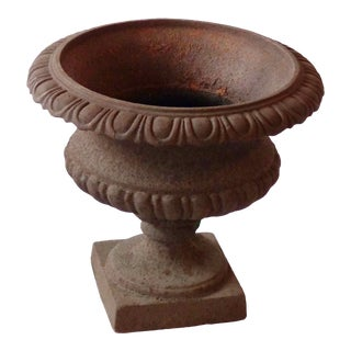 Mid Century Traditional Cast Iron Garden Urn With Rust Finish For Sale