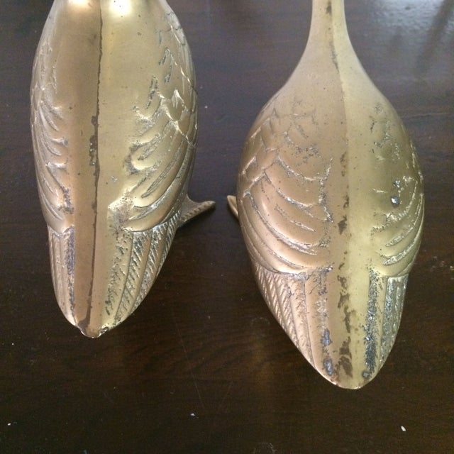 Large Brass Ducks - A Pair - Image 4 of 4