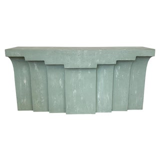 Modern Faux Concrete or Plaster Console Table For Sale