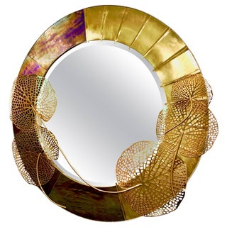 Italian Organic Brass and Opalescent Murano Glass Sculpture Round Mirror For Sale
