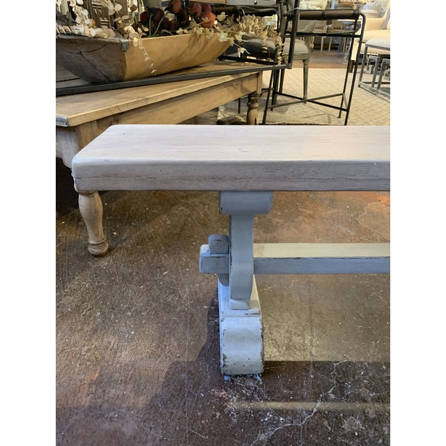 Late 19th Century Antique French Blue-Gray Trestle Bench For Sale - Image 5 of 13