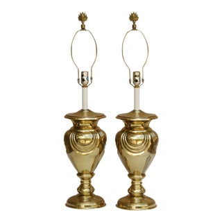 Stunning Art Deco Style Solid Brass Table Lamps by Stiffel, A Pair For Sale