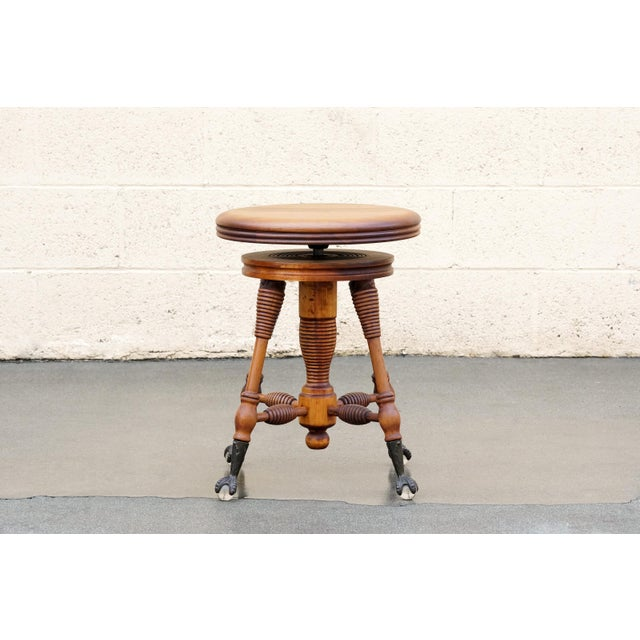 Antique Piano Stool With Claw and Glass Ball Foot For Sale In Los Angeles - Image 6 of 6
