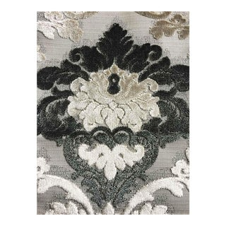 Krelan Parisian Cut Velvet, Graphite, Smoke, Silver and Grey Damask