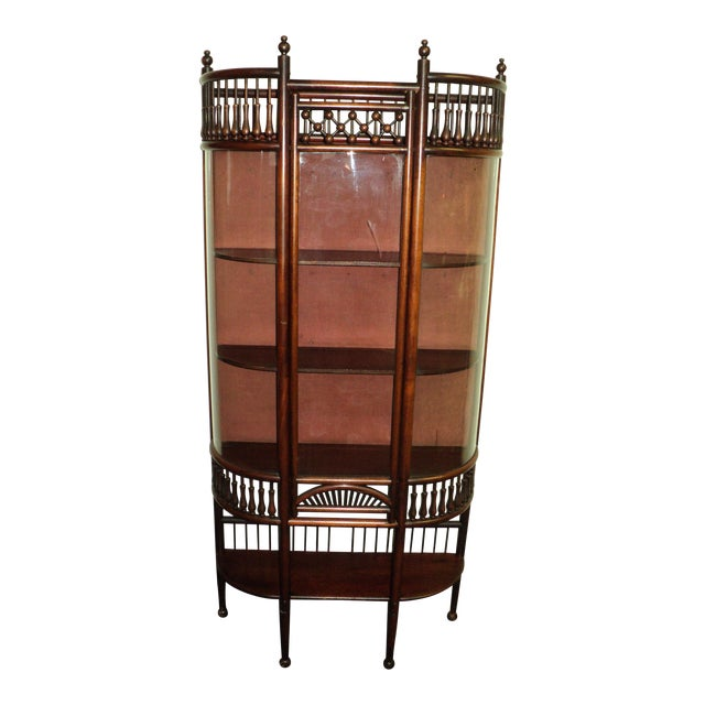 Small Antique Mahogany Stick and Ball Curved Glass Curio Cabinet - Small Antique Mahogany Stick And Ball Curved Glass Curio Cabinet