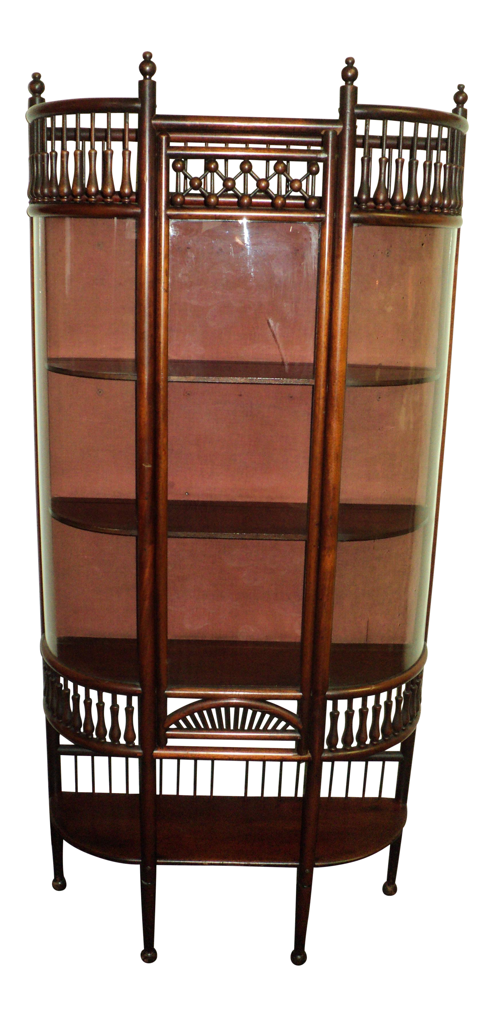 Small Antique Mahogany Stick And Ball Curved Glass Curio Cabinet For Sale