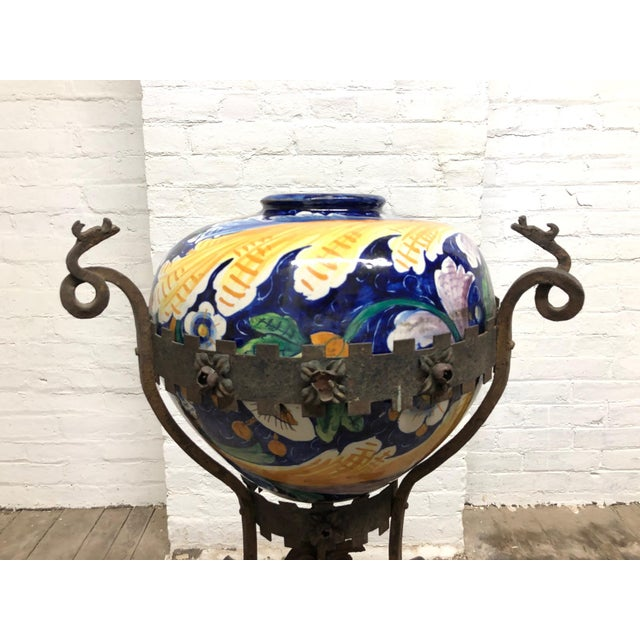 Antique Italian Wrought Iron Planter W/ Hand-Painted Majolica Vase For Sale - Image 4 of 9