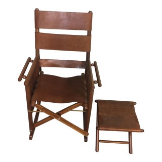Costa Rican Leather Campaign Folding Rocking Chair & Ottoman - A Pair