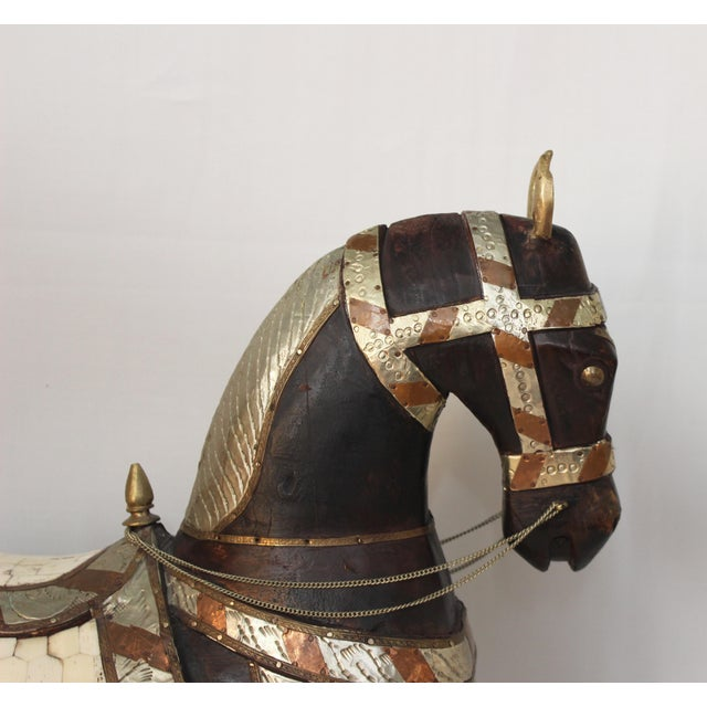 Vintage Mid-Century Tang Style Wood and Metal Horse Sculpture For Sale In New York - Image 6 of 13