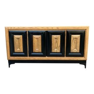 Restored Lou Hodges Style Postmodern Walnut Sideboard For Sale