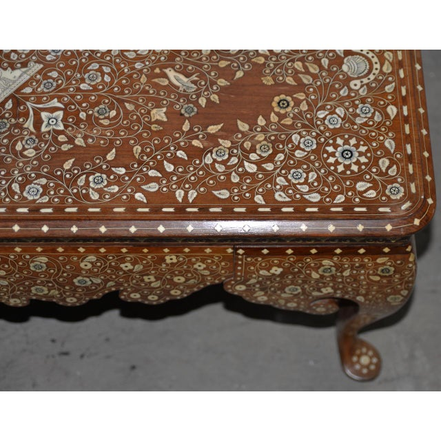 White Early to Mid 20th Century Anglo Indian Inlay Coffee Table For Sale - Image 8 of 10