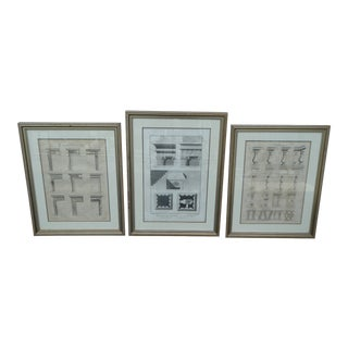 19th Century Antique Neoclassical Architectural Rendering Etchings - Set of 3 For Sale