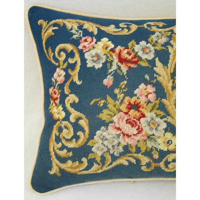 Custom 19th-C. French Needlepoint Floral Pillow - Image 3 of 11