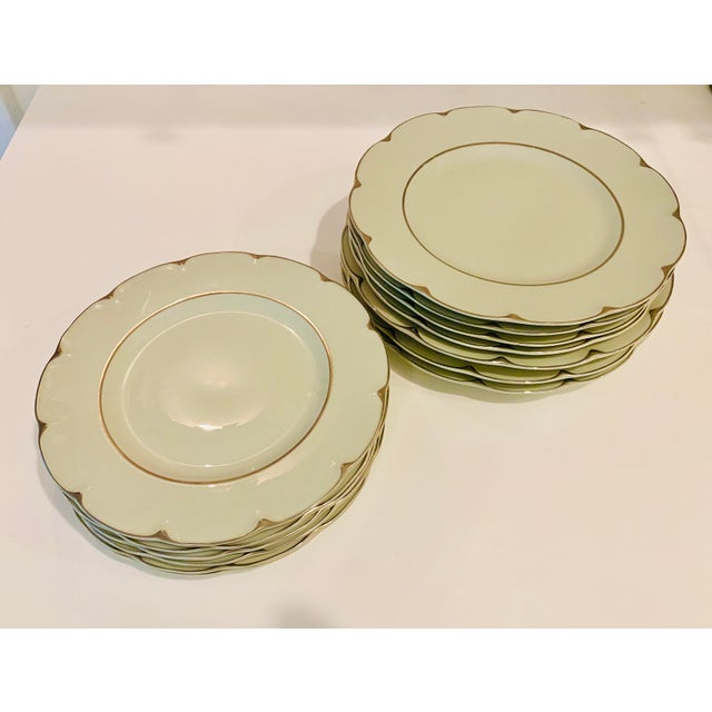 Such a gorgeous color combination! Theodore Haviland Limoges plates, circa 1960s. Subtle celadon green with silver accent,...