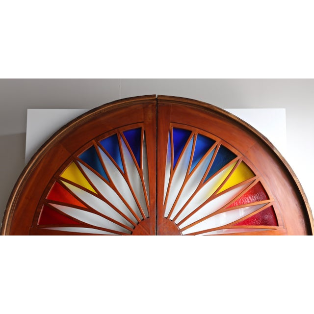 Monumental Stained Glass Sliding Doors Circa 1970 - a Pair For Sale - Image 9 of 13
