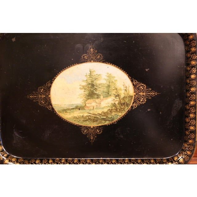French 19th Century French Napoleon III Black and Gilt Tole Tray With Pastoral Scene For Sale - Image 3 of 7