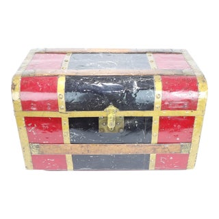 Antique Red, Black With Wood & Metal Overlay Steamer Trunk Coffee Table For Sale
