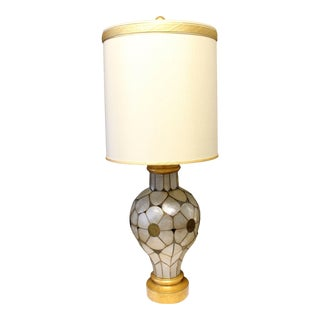 Mid Century Modern Rembrandt Capiz Shell Floral Table Lamp Original Shade For Sale