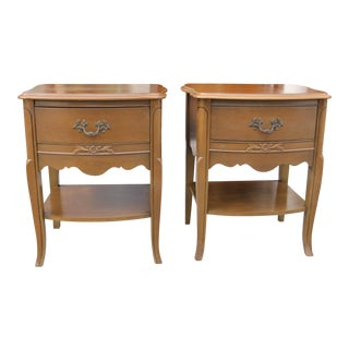 1970s Mid-Century Modern French Provincial Nightstands - a Pair