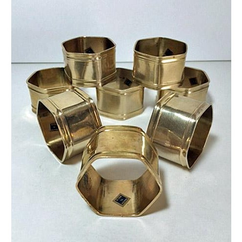 Set of 8 vintage brass hexagon napkin rings. Made in India. Excellent condition.
