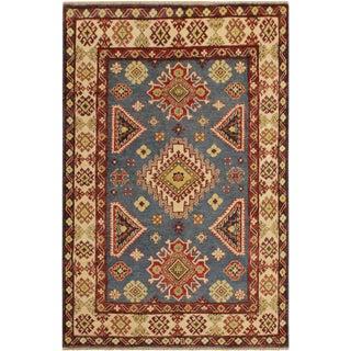 Kazak Garish Johnie Blue/Ivory Wool Rug - 4'0 X 5'9