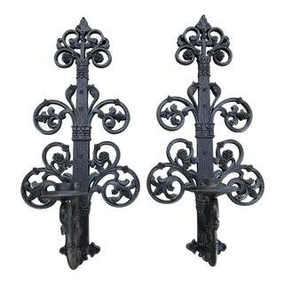 Mid-Century Large Black Candle Sconces - a Pair