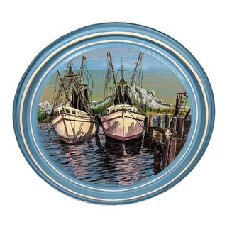1916 Weaver Dial Porthole Ship Painting on 55 Gallon Drum Lid For Sale