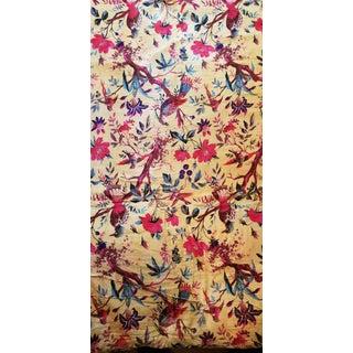 5 Yards Cotton Chinoiseri Bird Upholstery Velvet For Sale