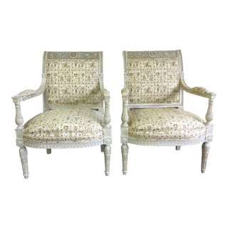 Pair of French Carved and Painted Armchairs With Portraits