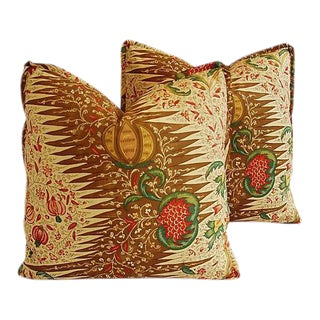 "Designer French Pierre Frey & Silk Feather/Down Pillows 22"" Square - a Pair"