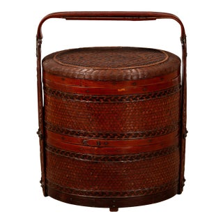 Vintage Chinese Rattan Two-Tiered Nested Lunch Basket with Lid and Handle For Sale