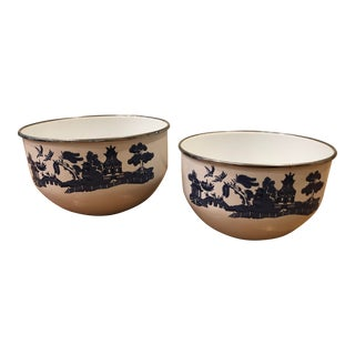 Pagoda Enamelware Nesting Bowls - a Pair For Sale