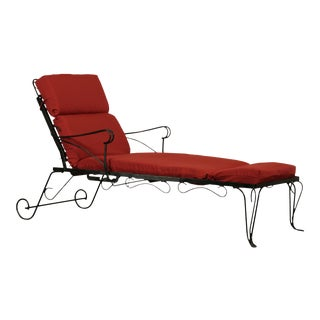 Vintage Wrought Iron Patio Chaise Lounge For Sale