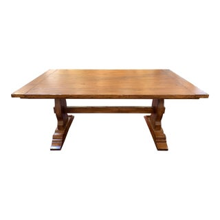 Traditional Custom Extendable Trestle Dining Table For Sale